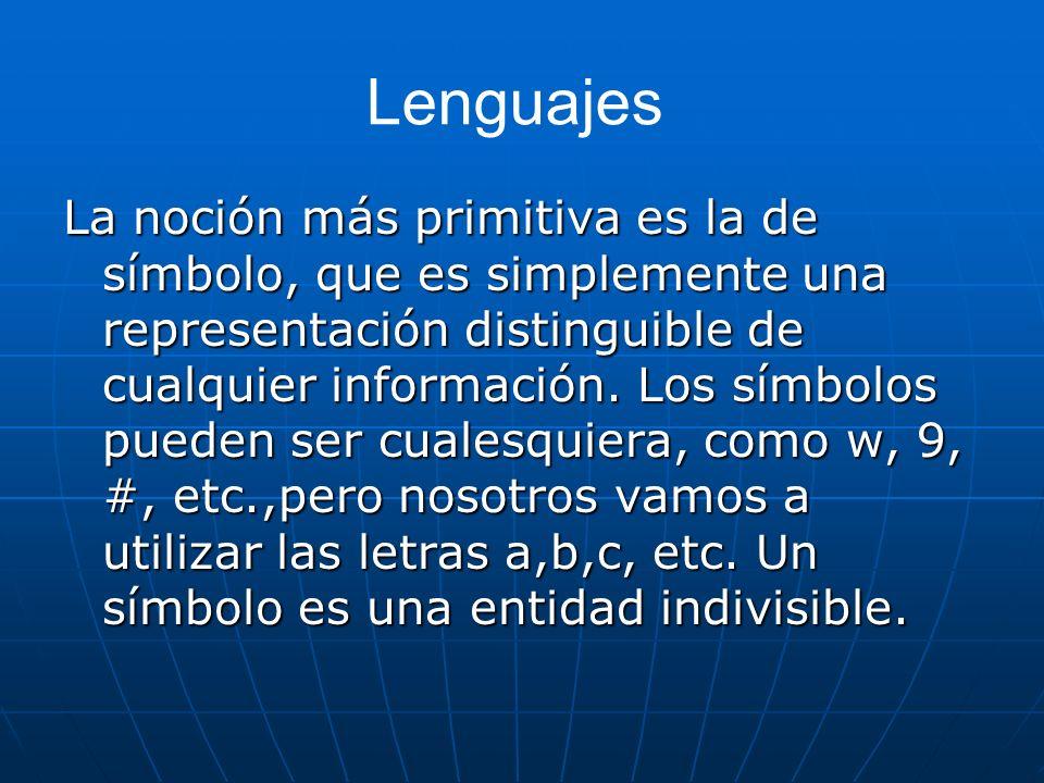 Lenguajes La noción más primitiva es la de símbolo, que es simplemente una representación distinguible de cualquier información. Los símbolos pueden s