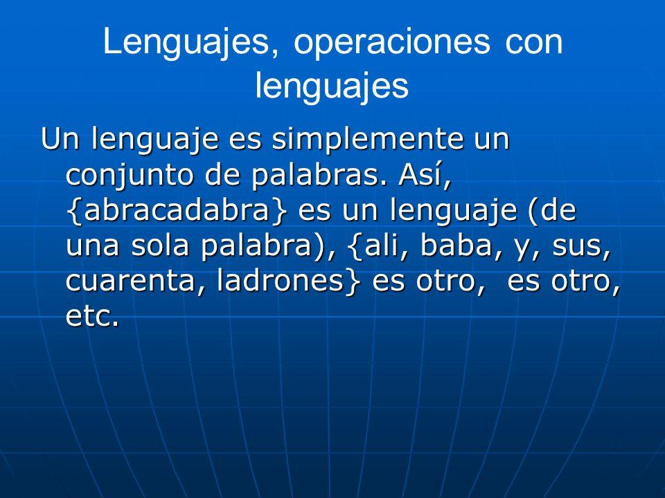 Lenguajes, operaciones con lenguajes Un lenguaje es simplemente un conjunto de palabras. Así, {abracadabra} es un lenguaje (de una sola palabra), {ali