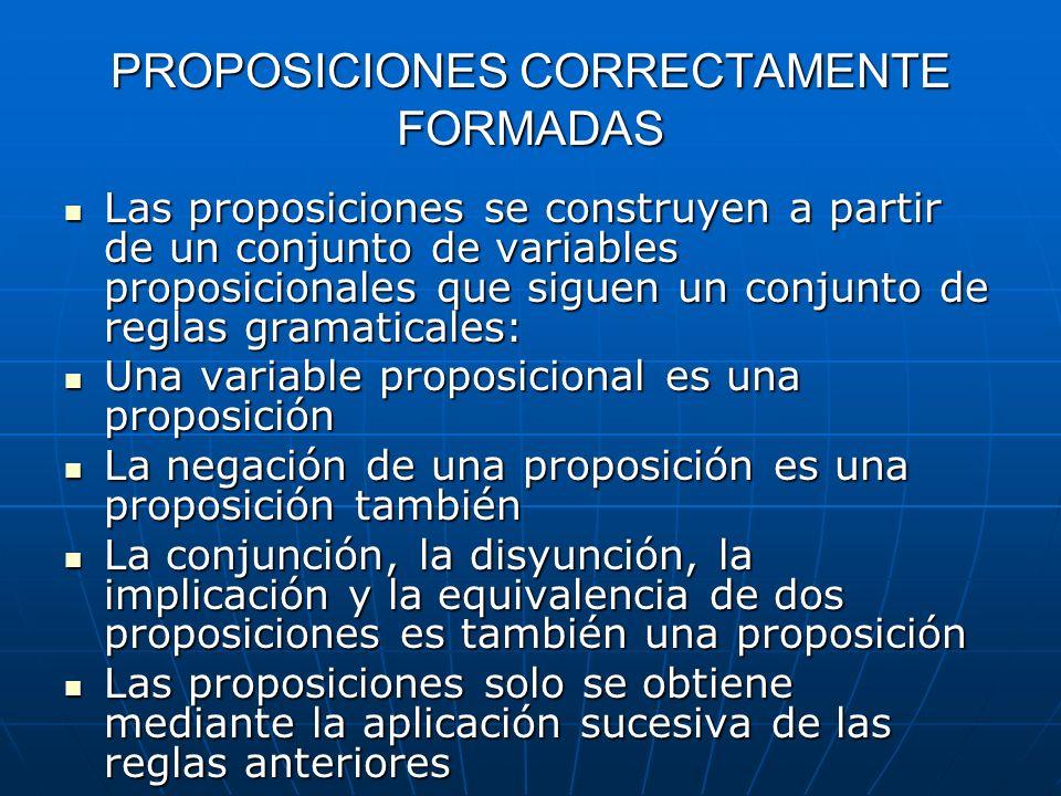 PROPOSICIONES CORRECTAMENTE FORMADAS Las proposiciones se construyen a partir de un conjunto de variables proposicionales que siguen un conjunto de re