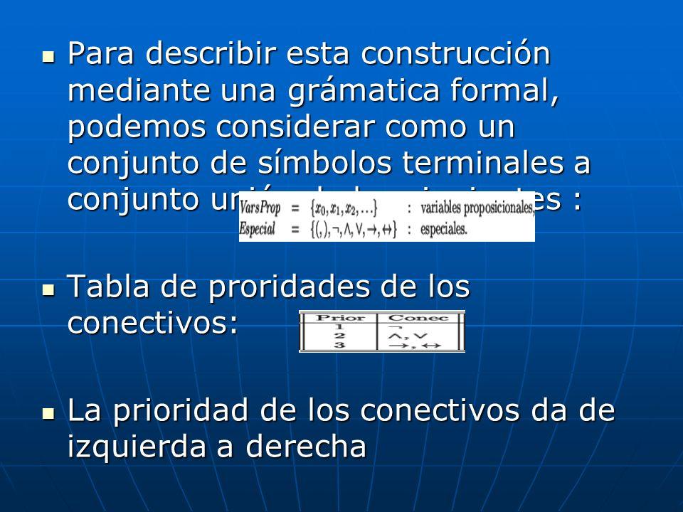 Para describir esta construcción mediante una grámatica formal, podemos considerar como un conjunto de símbolos terminales a conjunto unión de los sig