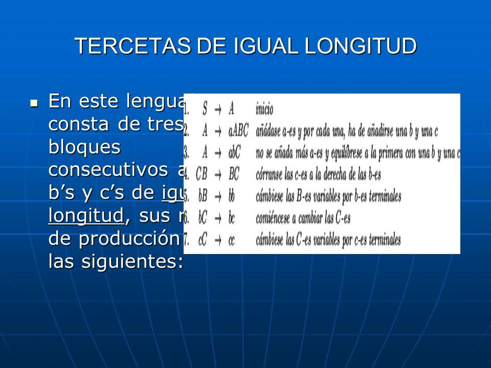 TERCETAS DE IGUAL LONGITUD En este lenguaje consta de tres bloques consecutivos as, bs y cs de igual longitud, sus reglas de producción son las siguie