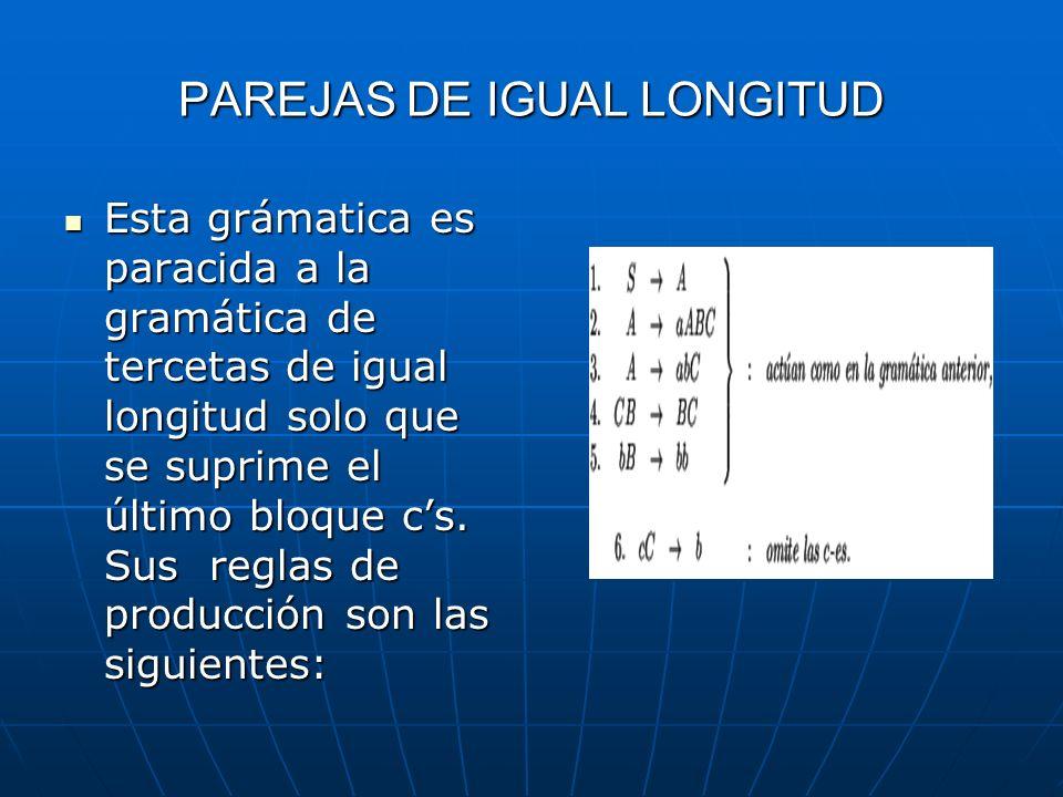 PAREJAS DE IGUAL LONGITUD Esta grámatica es paracida a la gramática de tercetas de igual longitud solo que se suprime el último bloque cs. Sus reglas