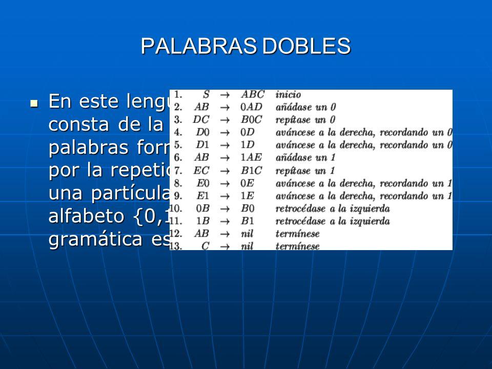 PALABRAS DOBLES En este lenguaje consta de la palabras formadas por la repetición de una partícula en el alfabeto {0,1}, su gramática es: En este leng