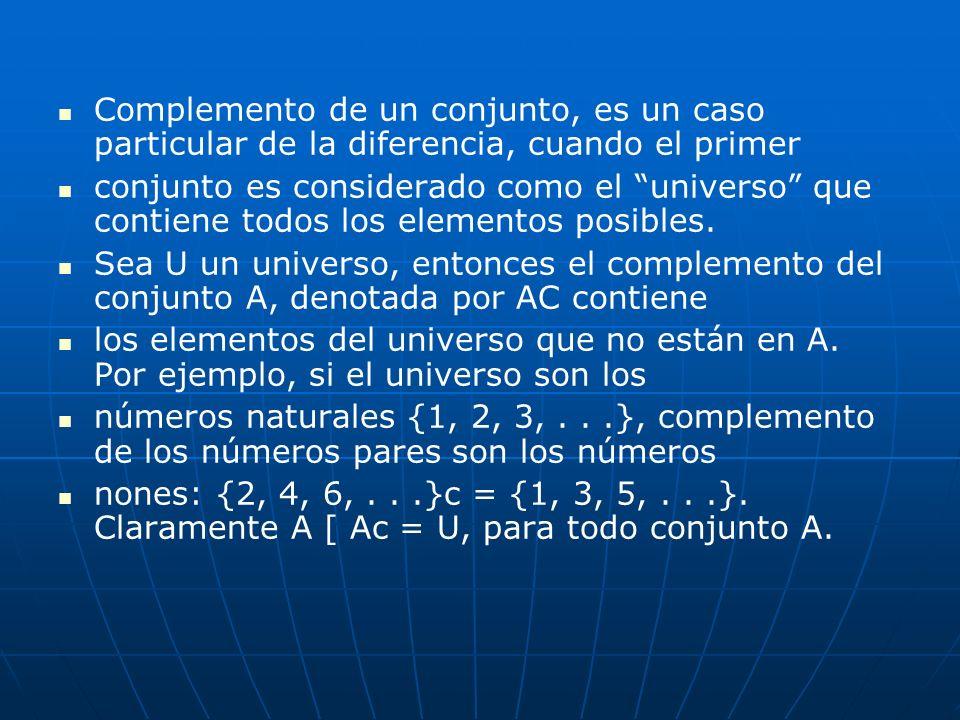 Complemento de un conjunto, es un caso particular de la diferencia, cuando el primer conjunto es considerado como el universo que contiene todos los e