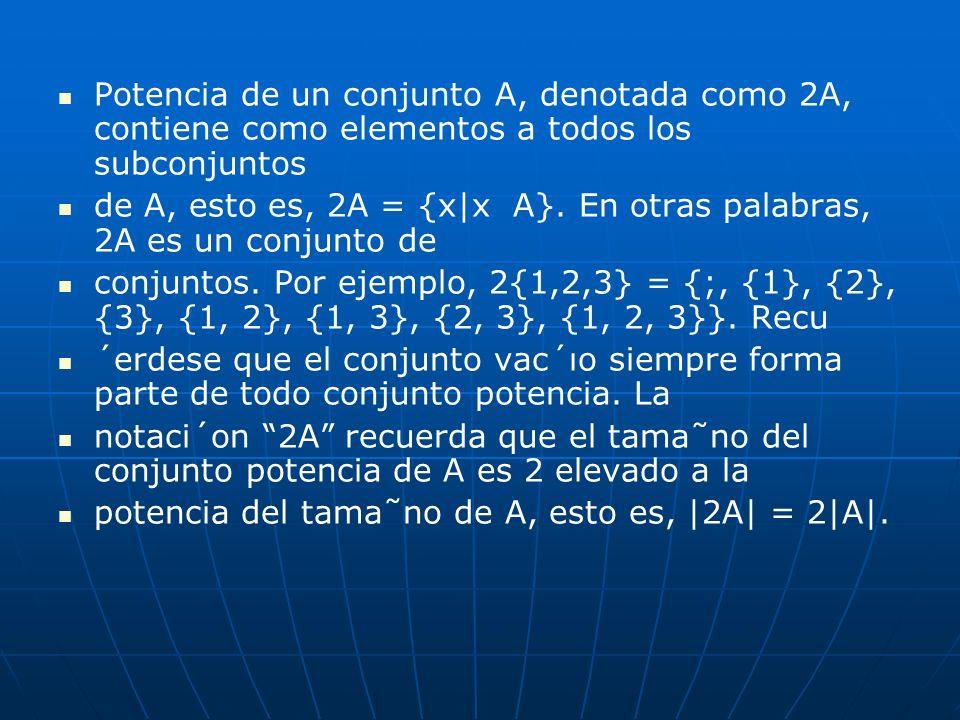 Potencia de un conjunto A, denotada como 2A, contiene como elementos a todos los subconjuntos de A, esto es, 2A = {x|x A}. En otras palabras, 2A es un