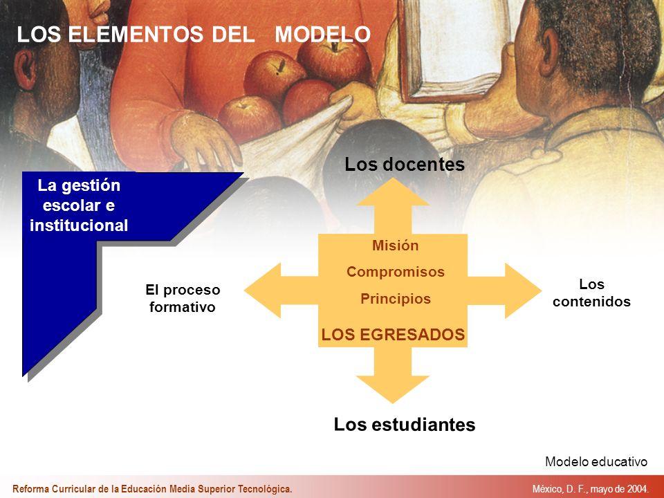Misión Compromisos Principios Los estudiantes El proceso formativo Los contenidos La gestión escolar e institucional LOS ELEMENTOS DEL MODELO Los docentes LOS EGRESADOS México, D.