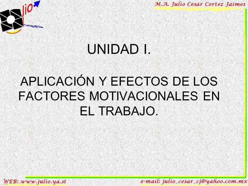 UNIDAD I. APLICACIÓN Y EFECTOS DE LOS FACTORES MOTIVACIONALES EN EL TRABAJO.
