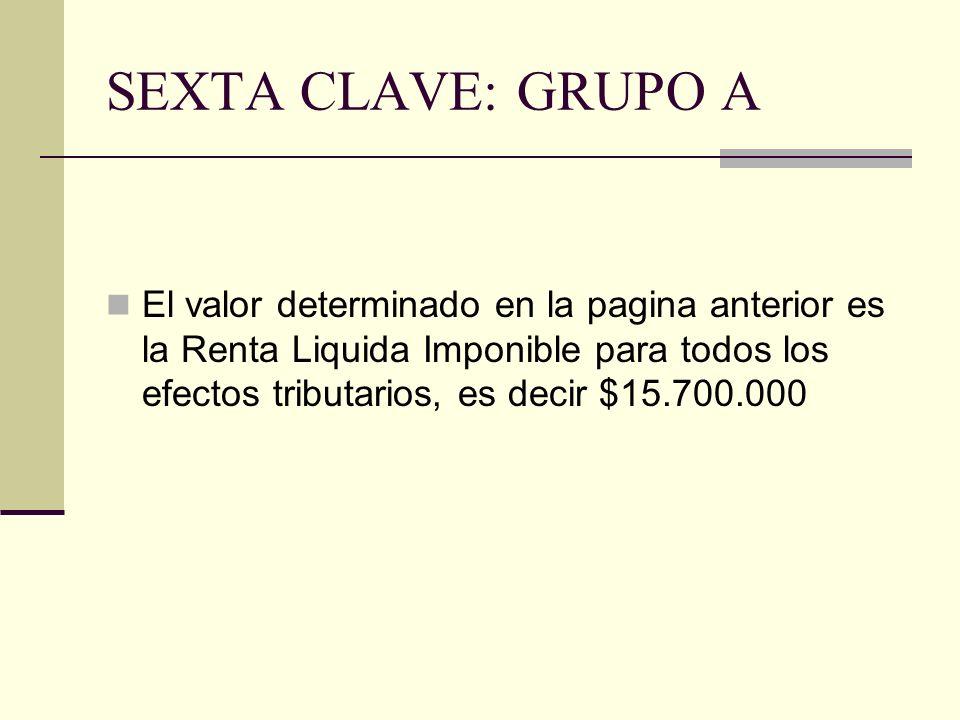 SEXTA CLAVE: GRUPO A El valor determinado en la pagina anterior es la Renta Liquida Imponible para todos los efectos tributarios, es decir $15.700.000