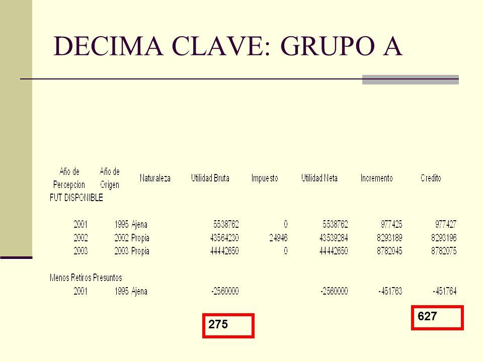 DECIMA CLAVE: GRUPO A 275 627
