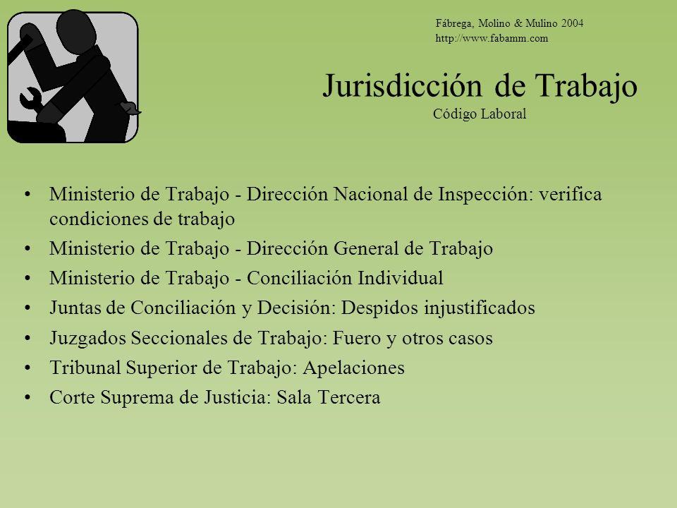 Jurisdicción de Trabajo Código Laboral Ministerio de Trabajo - Dirección Nacional de Inspección: verifica condiciones de trabajo Ministerio de Trabajo