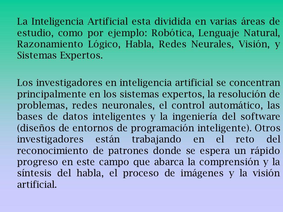 La Inteligencia Artificial esta dividida en varias áreas de estudio, como por ejemplo: Robótica, Lenguaje Natural, Razonamiento Lógico, Habla, Redes N