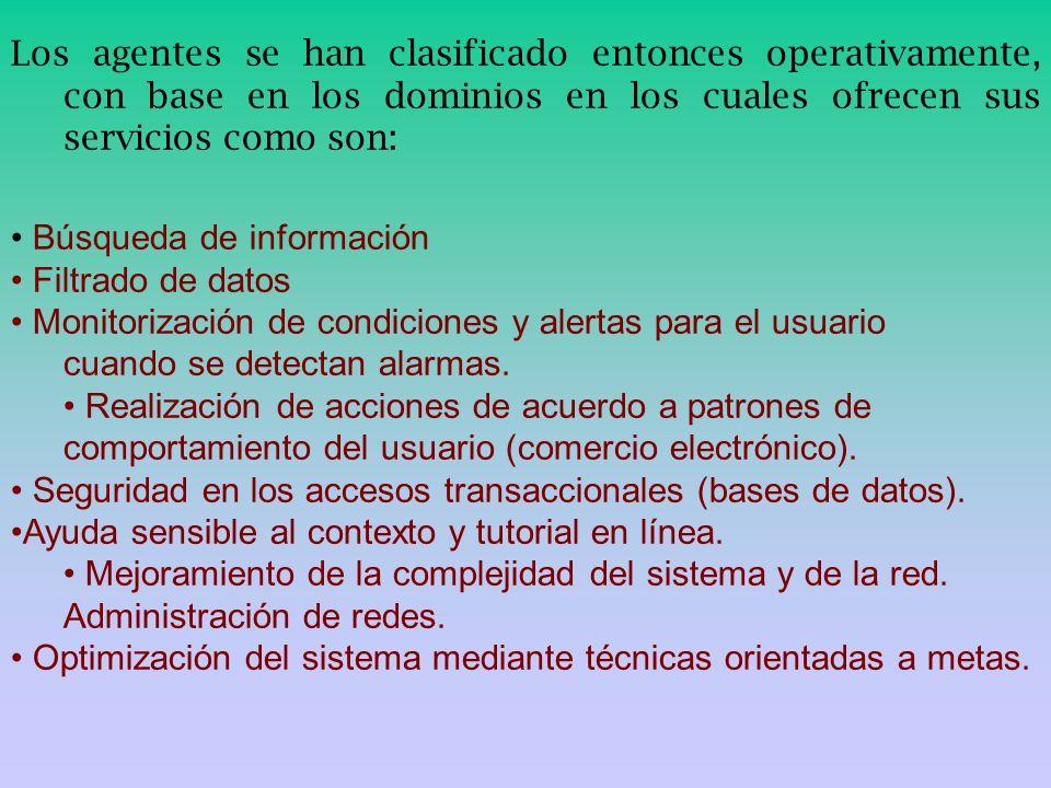 Los agentes se han clasificado entonces operativamente, con base en los dominios en los cuales ofrecen sus servicios como son: Búsqueda de información