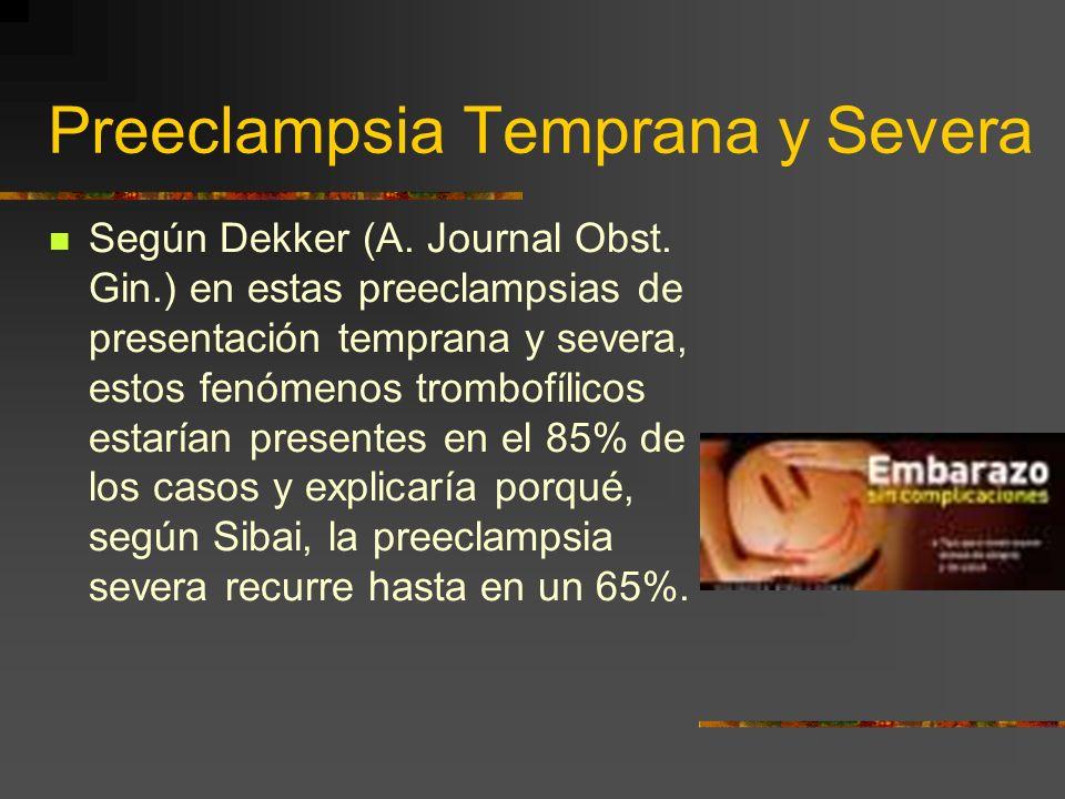 Preeclampsia Temprana y Severa Un 10% de las pacientes con preeclampsia hacen una forma severa y temprana de la enfermedad, entre la semana 20 y 28 qu