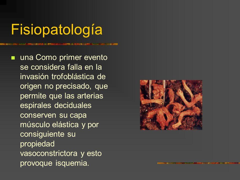 Fisiopatología Su origen es multifactorial y se invocan alteraciones placentarias y enfermedades maternas con o sin expresión clínica antes del embara