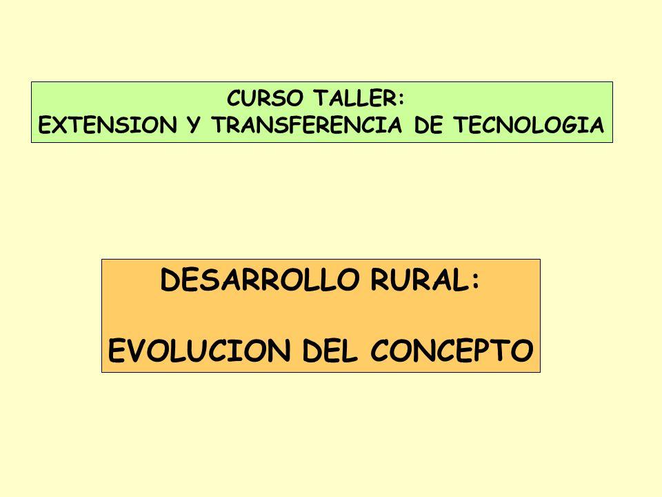 CURSO TALLER: EXTENSION Y TRANSFERENCIA DE TECNOLOGIA DESARROLLO RURAL: EVOLUCION DEL CONCEPTO