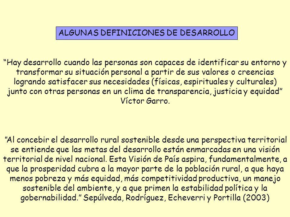 ALGUNAS DEFINICIONES DE DESARROLLO Al concebir el desarrollo rural sostenible desde una perspectiva territorial se entiende que las metas del desarrol