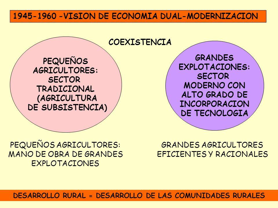 1945-1960 -VISION DE ECONOMIA DUAL-MODERNIZACION PEQUEÑOS AGRICULTORES: SECTOR TRADICIONAL (AGRICULTURA DE SUBSISTENCIA) GRANDES EXPLOTACIONES: SECTOR