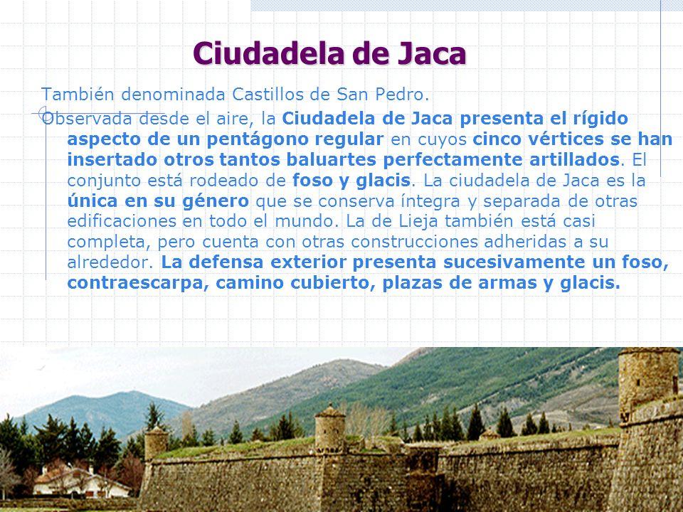Ciudadela de Jaca También denominada Castillos de San Pedro. Observada desde el aire, la Ciudadela de Jaca presenta el rígido aspecto de un pentágono