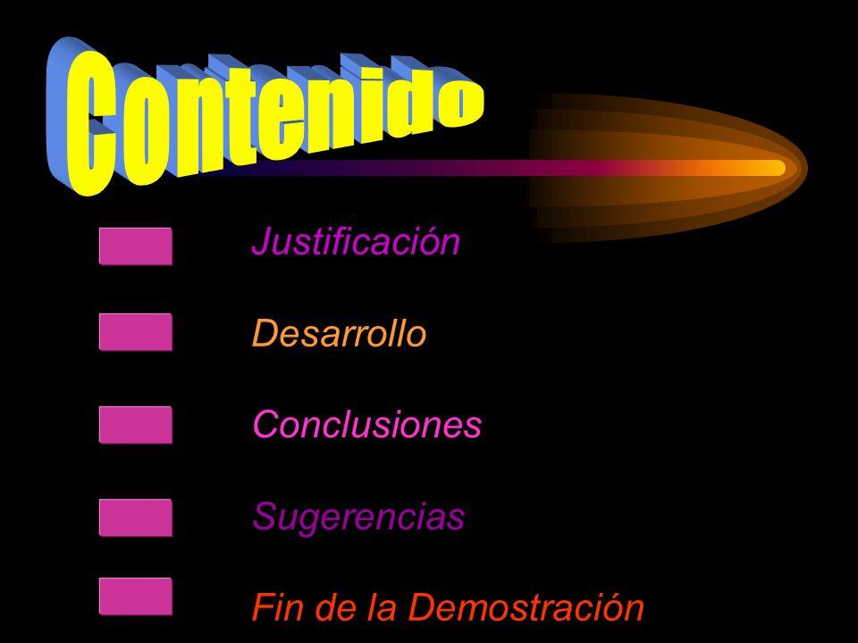Justificación Desarrollo Conclusiones Sugerencias Fin de la Demostración