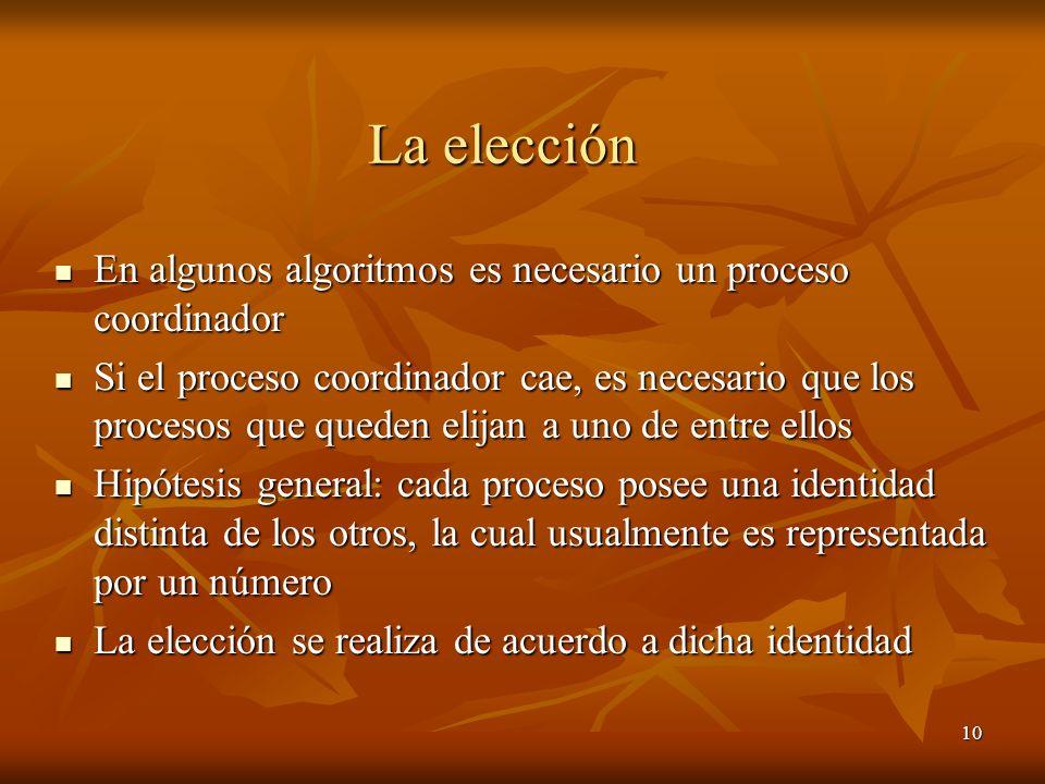 10 La elección En algunos algoritmos es necesario un proceso coordinador En algunos algoritmos es necesario un proceso coordinador Si el proceso coord