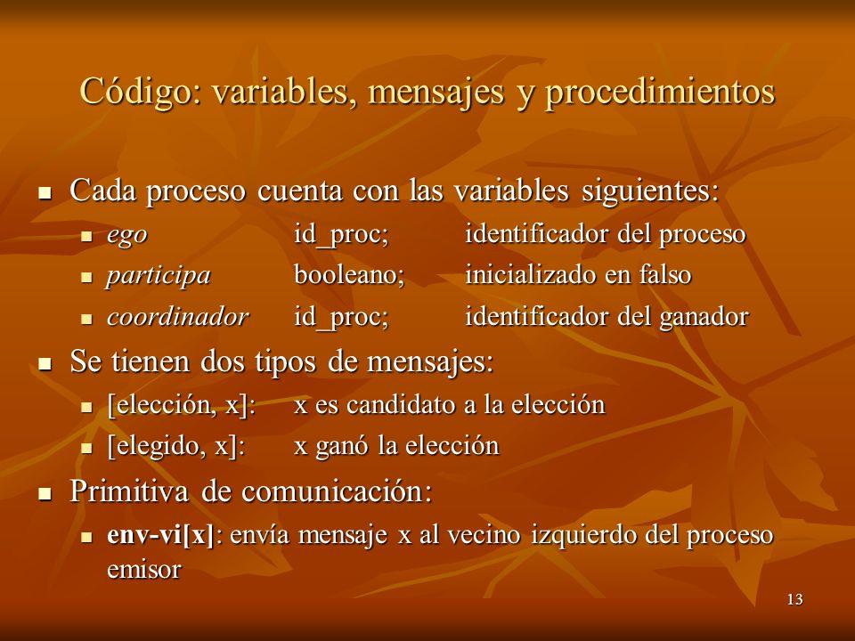 13 Código: variables, mensajes y procedimientos Cada proceso cuenta con las variables siguientes: Cada proceso cuenta con las variables siguientes: eg