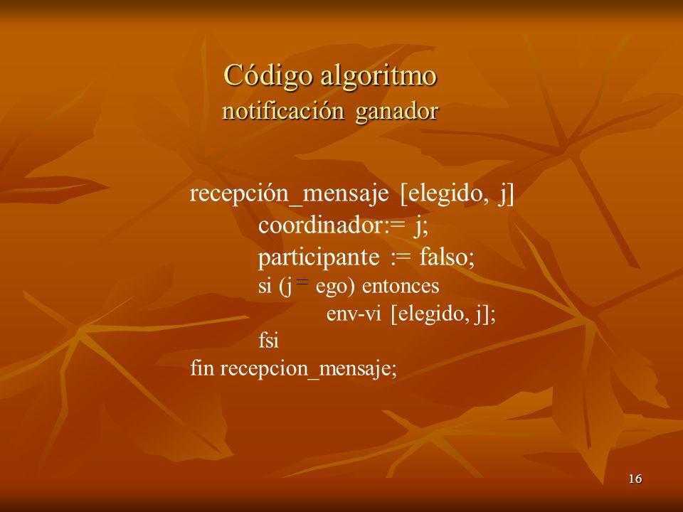 16 Código algoritmo notificación ganador recepción_mensaje [elegido, j] coordinador:= j; participante := falso; si (j ego) entonces env-vi [elegido, j