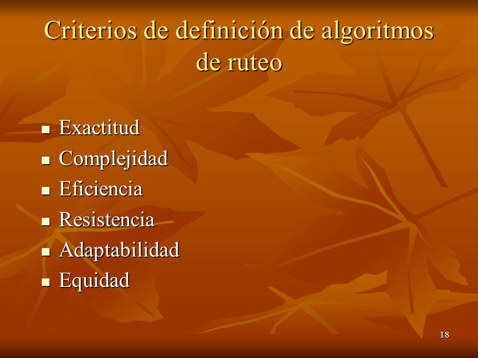 18 Criterios de definición de algoritmos de ruteo Exactitud Exactitud Complejidad Complejidad Eficiencia Eficiencia Resistencia Resistencia Adaptabili