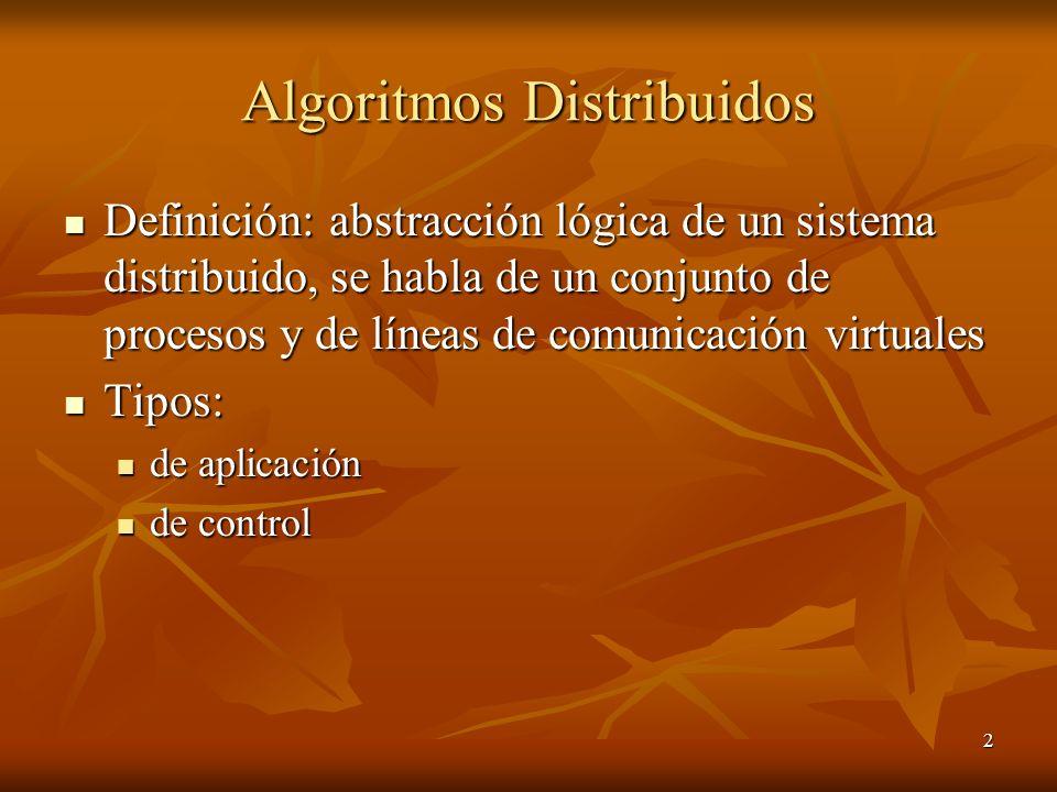 2 Algoritmos Distribuidos Definición: abstracción lógica de un sistema distribuido, se habla de un conjunto de procesos y de líneas de comunicación vi