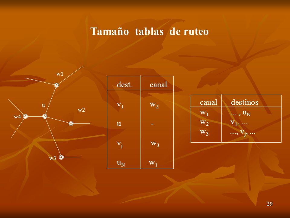 29 w2 w1 w4 u w3 dest. canal v 1 w 2 u - v j w 3 u N w 1 canal destinos w 1..., u N w 2 v 1,... w 3..., v j,... Tamaño tablas de ruteo