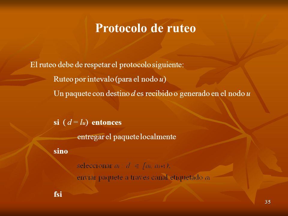 35 Protocolo de ruteo El ruteo debe de respetar el protocolo siguiente: Ruteo por intevalo (para el nodo u) Un paquete con destino d es recibido o gen
