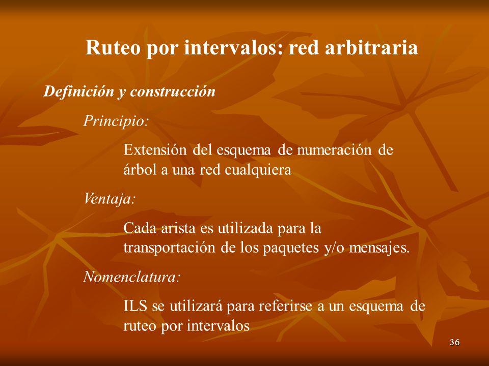 36 Ruteo por intervalos: red arbitraria Definición y construcción Principio: Extensión del esquema de numeración de árbol a una red cualquiera Ventaja