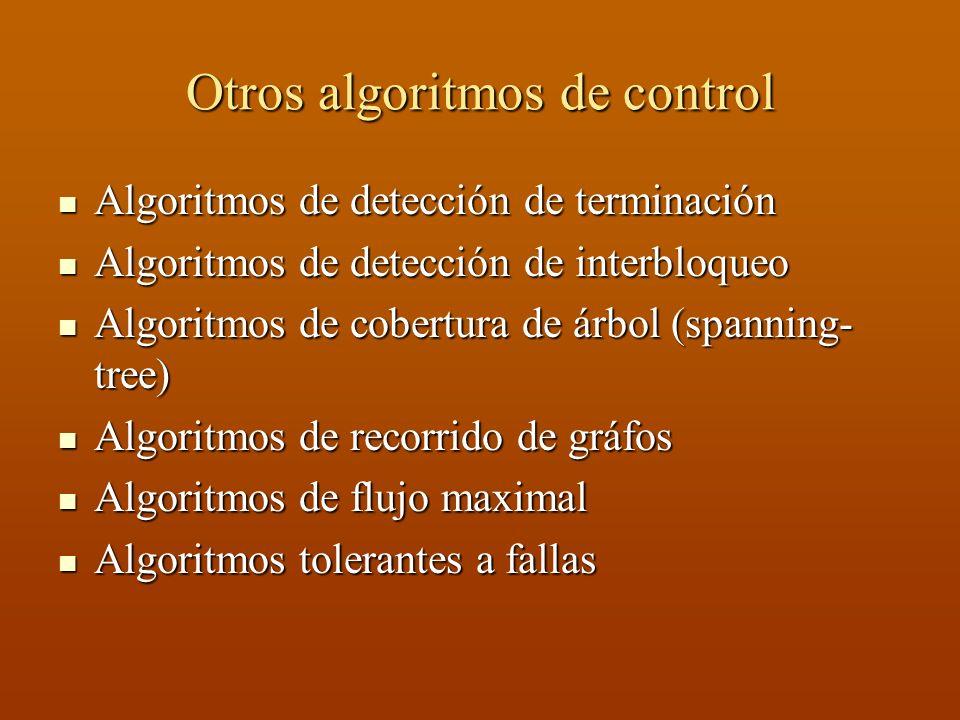 Otros algoritmos de control Algoritmos de detección de terminación Algoritmos de detección de terminación Algoritmos de detección de interbloqueo Algo