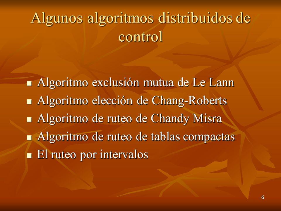 6 Algunos algoritmos distribuidos de control Algoritmo exclusión mutua de Le Lann Algoritmo exclusión mutua de Le Lann Algoritmo elección de Chang-Rob
