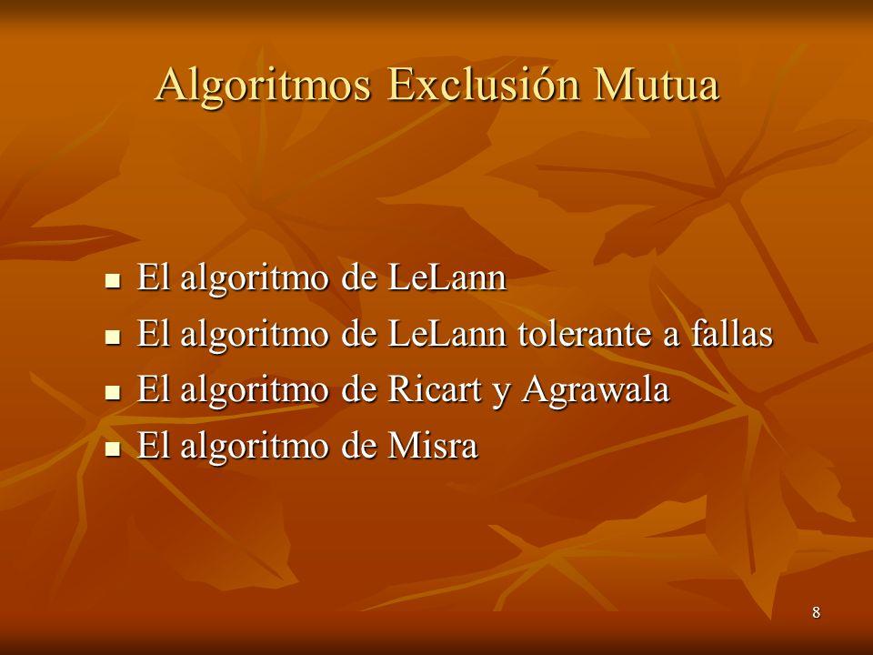 8 Algoritmos Exclusión Mutua El algoritmo de LeLann El algoritmo de LeLann El algoritmo de LeLann tolerante a fallas El algoritmo de LeLann tolerante