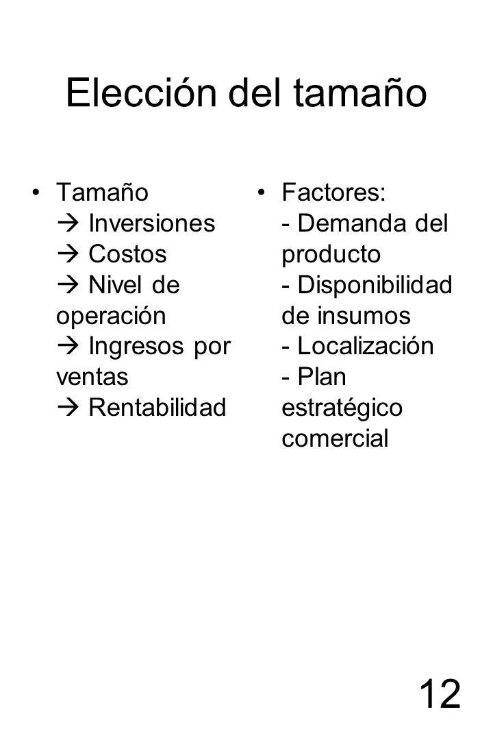 12 Elección del tamaño Tamaño Inversiones Costos Nivel de operación Ingresos por ventas Rentabilidad Factores: - Demanda del producto - Disponibilidad