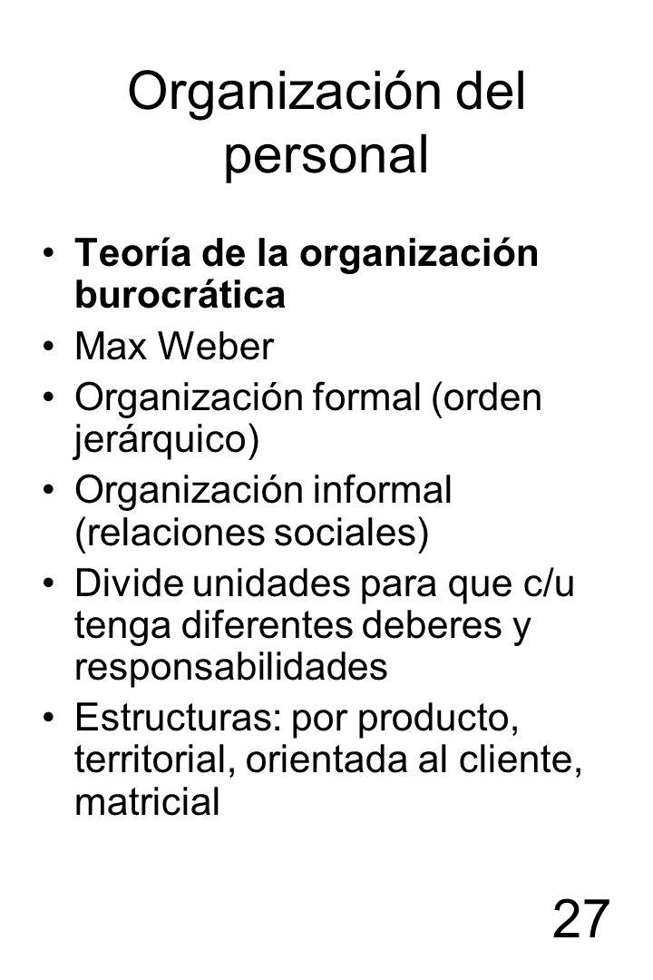 27 Organización del personal Teoría de la organización burocrática Max Weber Organización formal (orden jerárquico) Organización informal (relaciones