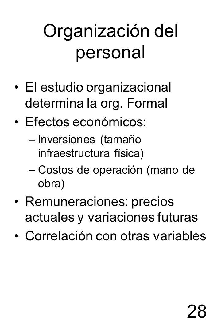 28 Organización del personal El estudio organizacional determina la org. Formal Efectos económicos: –Inversiones (tamaño infraestructura física) –Cost