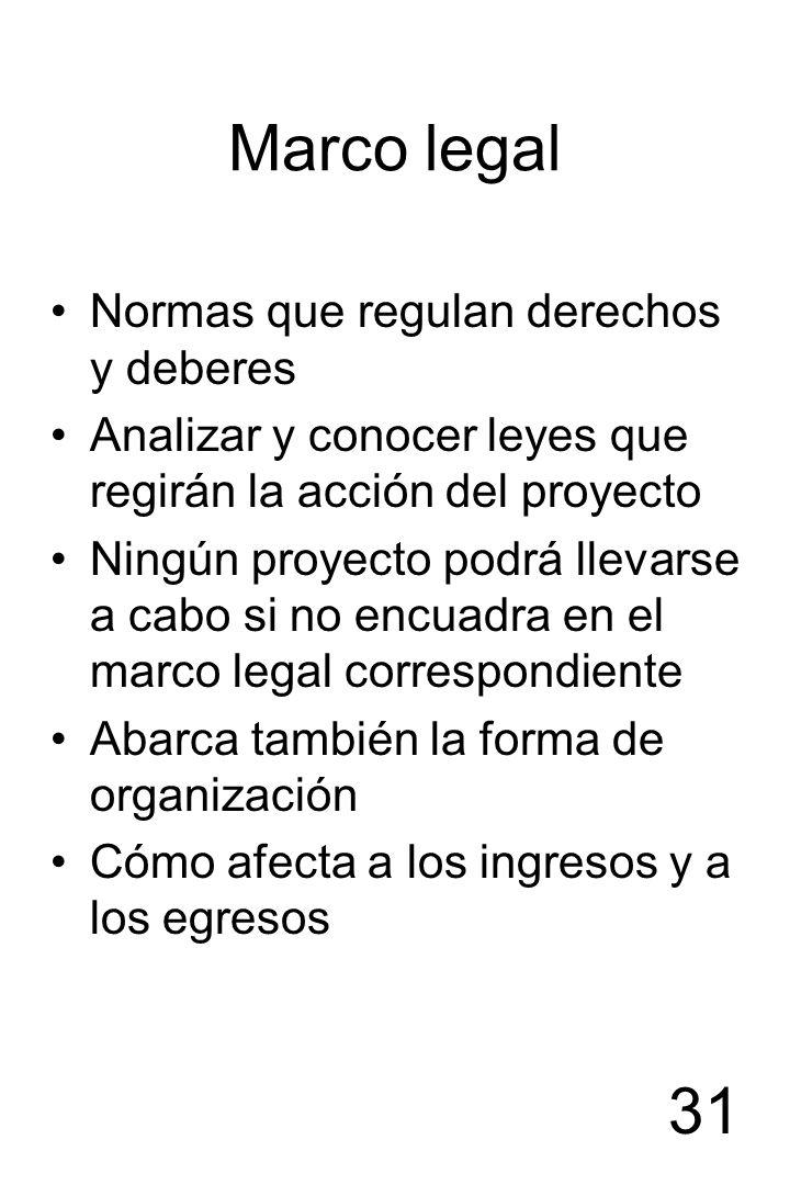31 Marco legal Normas que regulan derechos y deberes Analizar y conocer leyes que regirán la acción del proyecto Ningún proyecto podrá llevarse a cabo