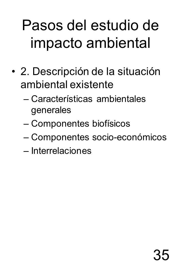 35 Pasos del estudio de impacto ambiental 2. Descripción de la situación ambiental existente –Características ambientales generales –Componentes biofí
