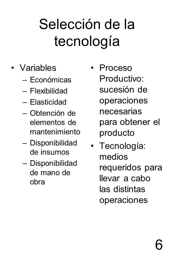 6 Selección de la tecnología Variables –Económicas –Flexibilidad –Elasticidad –Obtención de elementos de mantenimiento –Disponibilidad de insumos –Dis