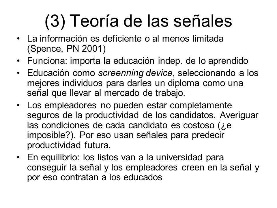 (3) Teoría de las señales La información es deficiente o al menos limitada (Spence, PN 2001) Funciona: importa la educación indep. de lo aprendido Edu