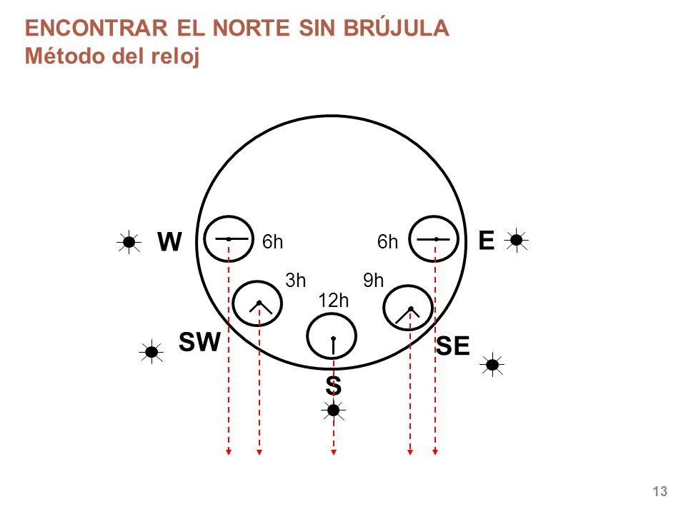 13 ENCONTRAR EL NORTE SIN BRÚJULA Método del reloj W S SE SW E 6h 3h 12h 9h 6h