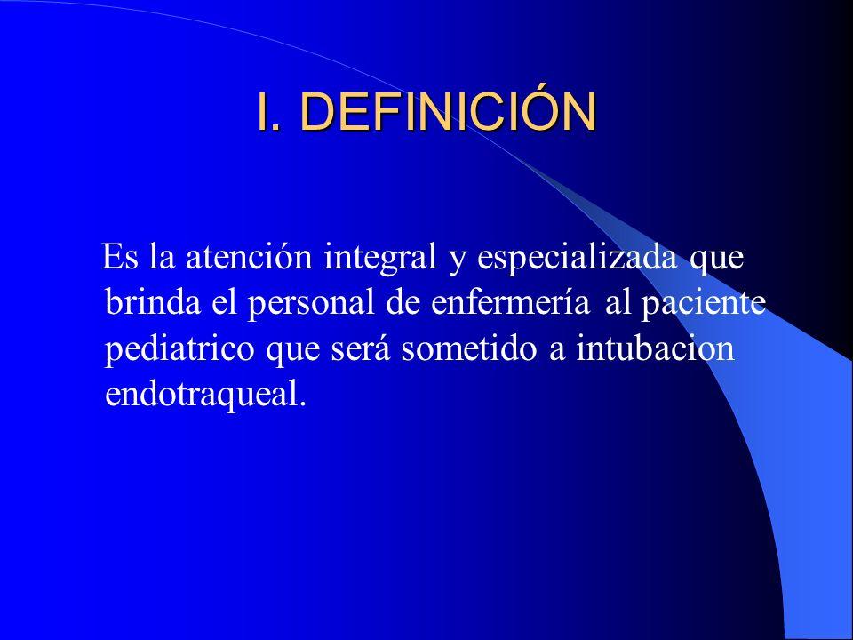 I. DEFINICIÓN Es la atención integral y especializada que brinda el personal de enfermería al paciente pediatrico que será sometido a intubacion endot