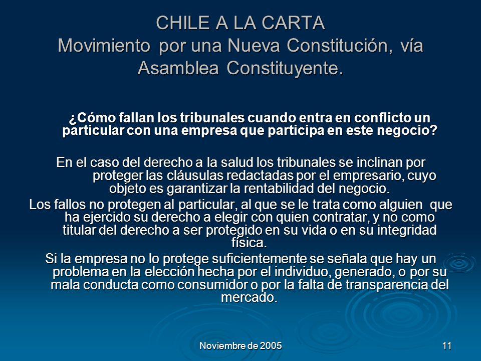 Noviembre de 200511 CHILE A LA CARTA Movimiento por una Nueva Constitución, vía Asamblea Constituyente.