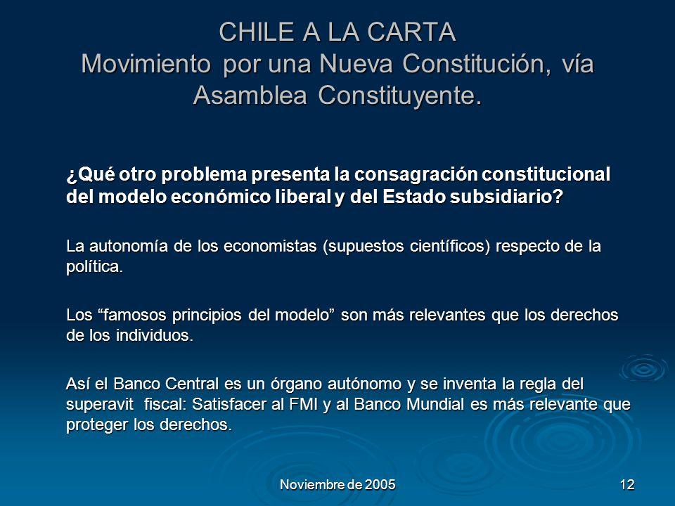 Noviembre de 200512 CHILE A LA CARTA Movimiento por una Nueva Constitución, vía Asamblea Constituyente.