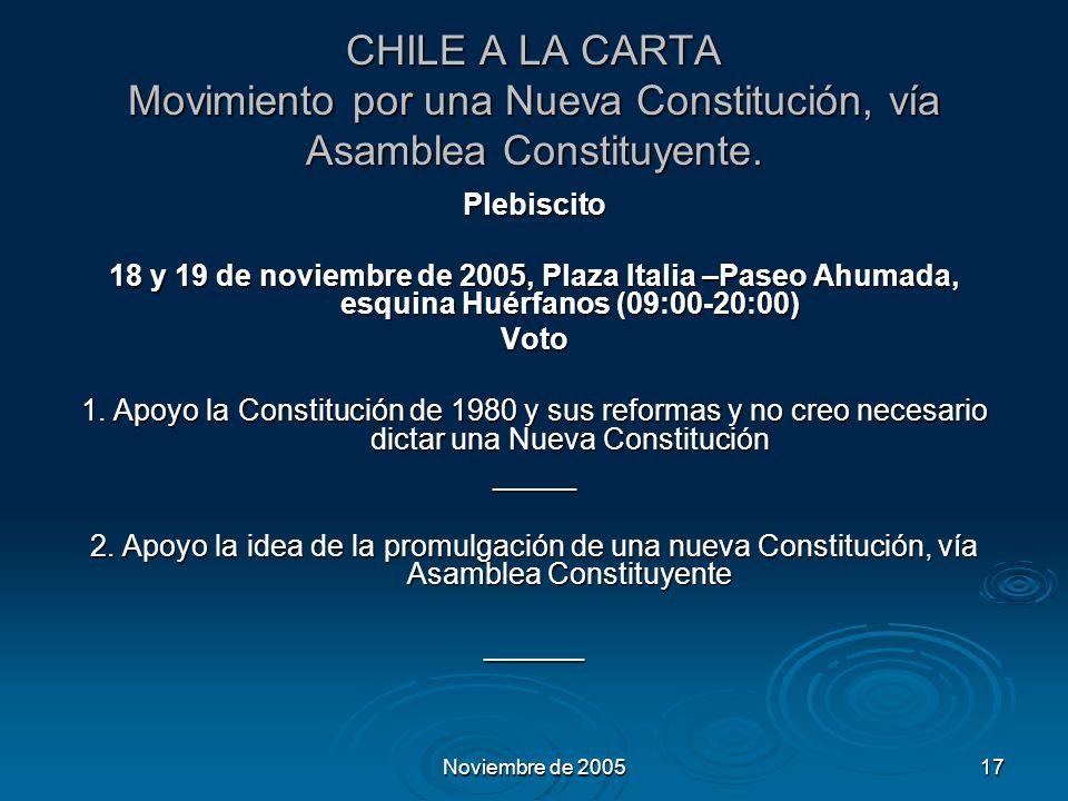 Noviembre de 200517 CHILE A LA CARTA Movimiento por una Nueva Constitución, vía Asamblea Constituyente.