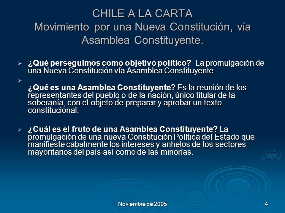 Noviembre de 20054 CHILE A LA CARTA Movimiento por una Nueva Constitución, vía Asamblea Constituyente.