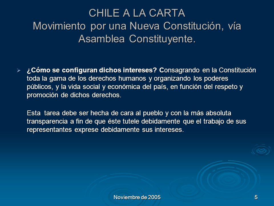 Noviembre de 20055 CHILE A LA CARTA Movimiento por una Nueva Constitución, vía Asamblea Constituyente.