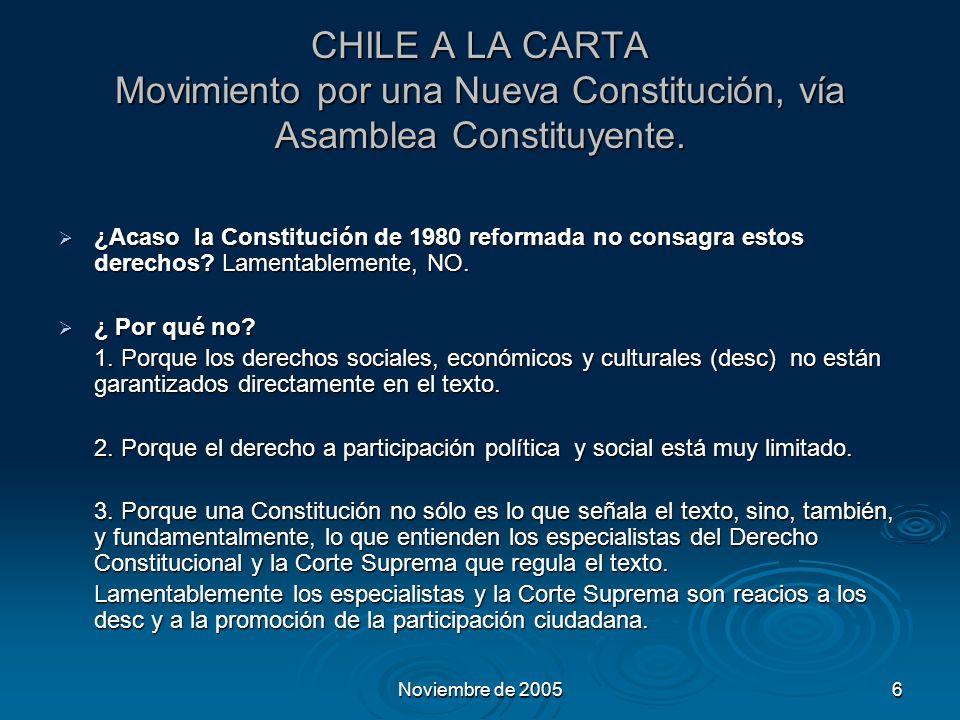 Noviembre de 20056 CHILE A LA CARTA Movimiento por una Nueva Constitución, vía Asamblea Constituyente.