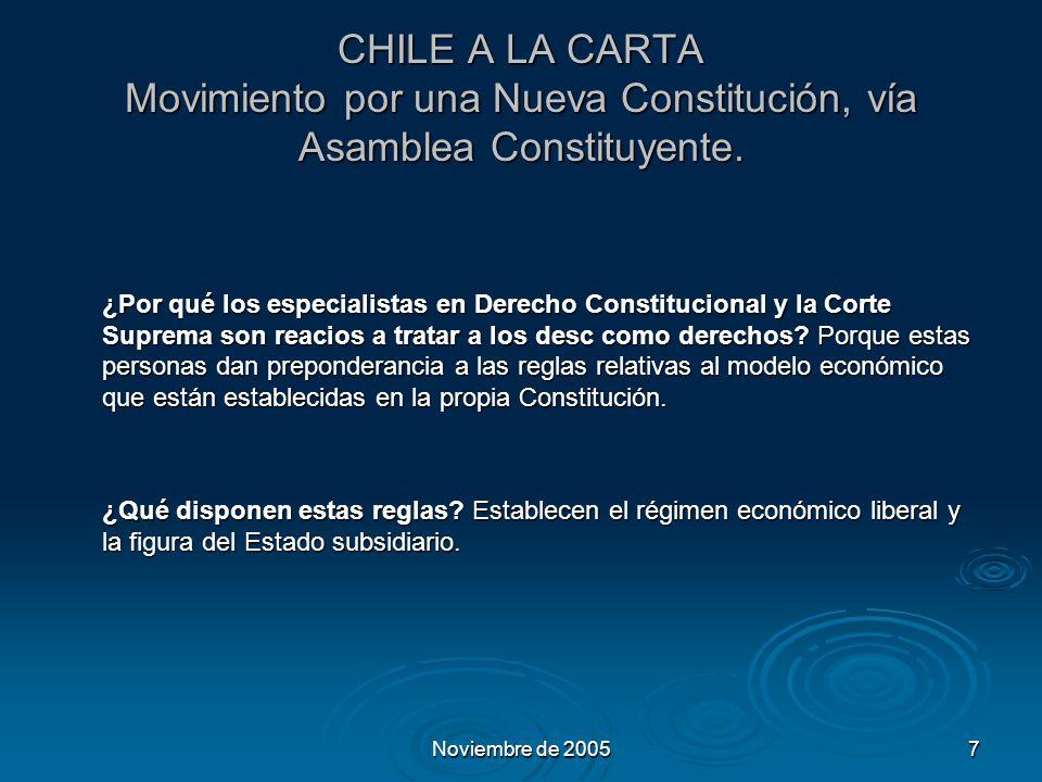 Noviembre de 20057 CHILE A LA CARTA Movimiento por una Nueva Constitución, vía Asamblea Constituyente.